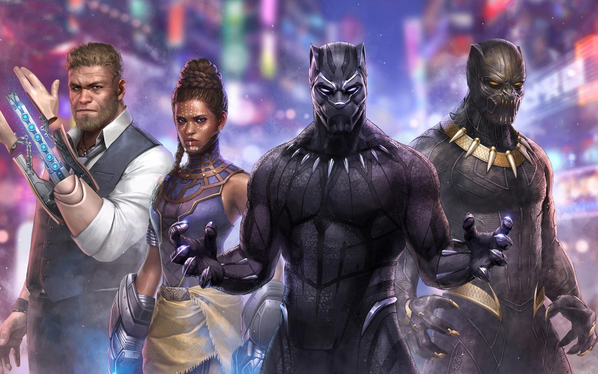 Черная пантера Марвел битва будущего произведения искусства обои скачать