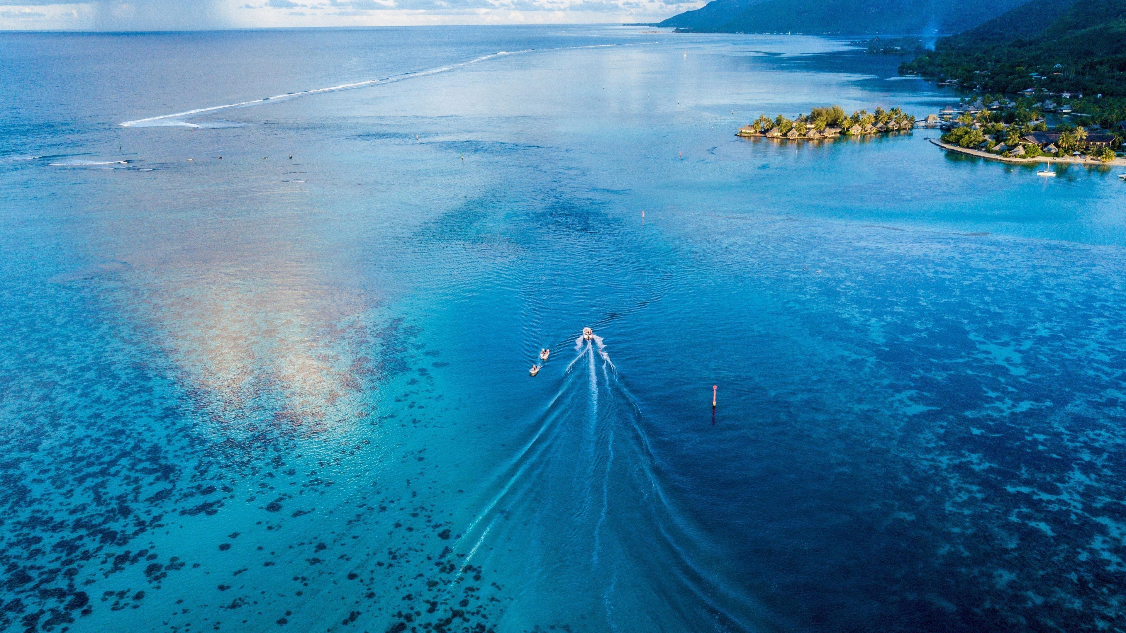 Лодка Парусный спорт вид сверху небо синее море природа обои скачать