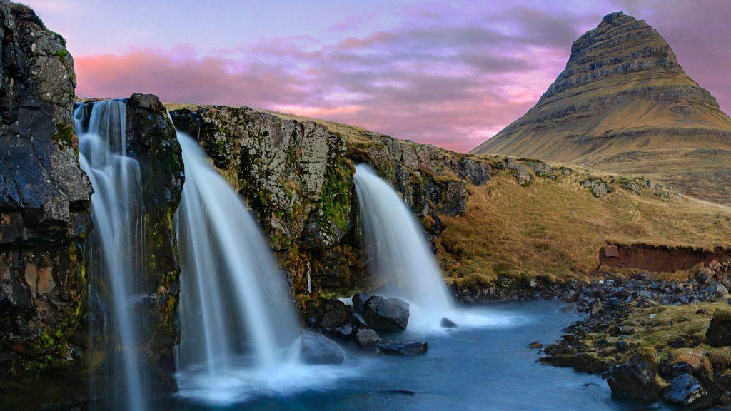 Гора kirkjufell, водопады Исландии. обои скачать