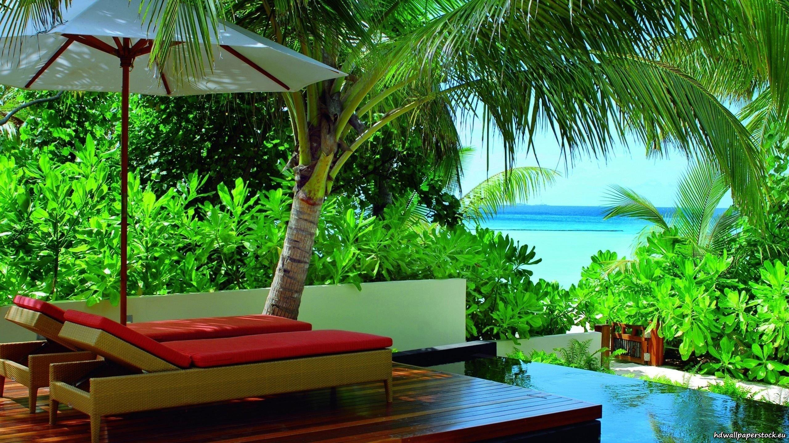 Отель на острове Мальдивы обои скачать