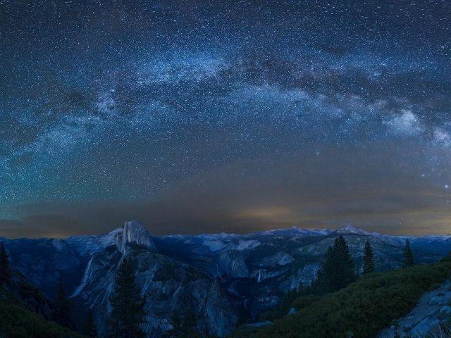 Йосемитский национальный парк Калифорния Млечный Путь гора звездное небо природа