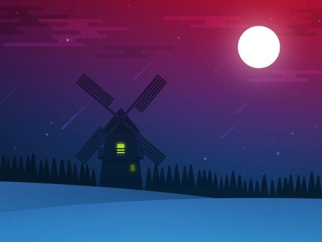Полнолуние ночной пейзаж