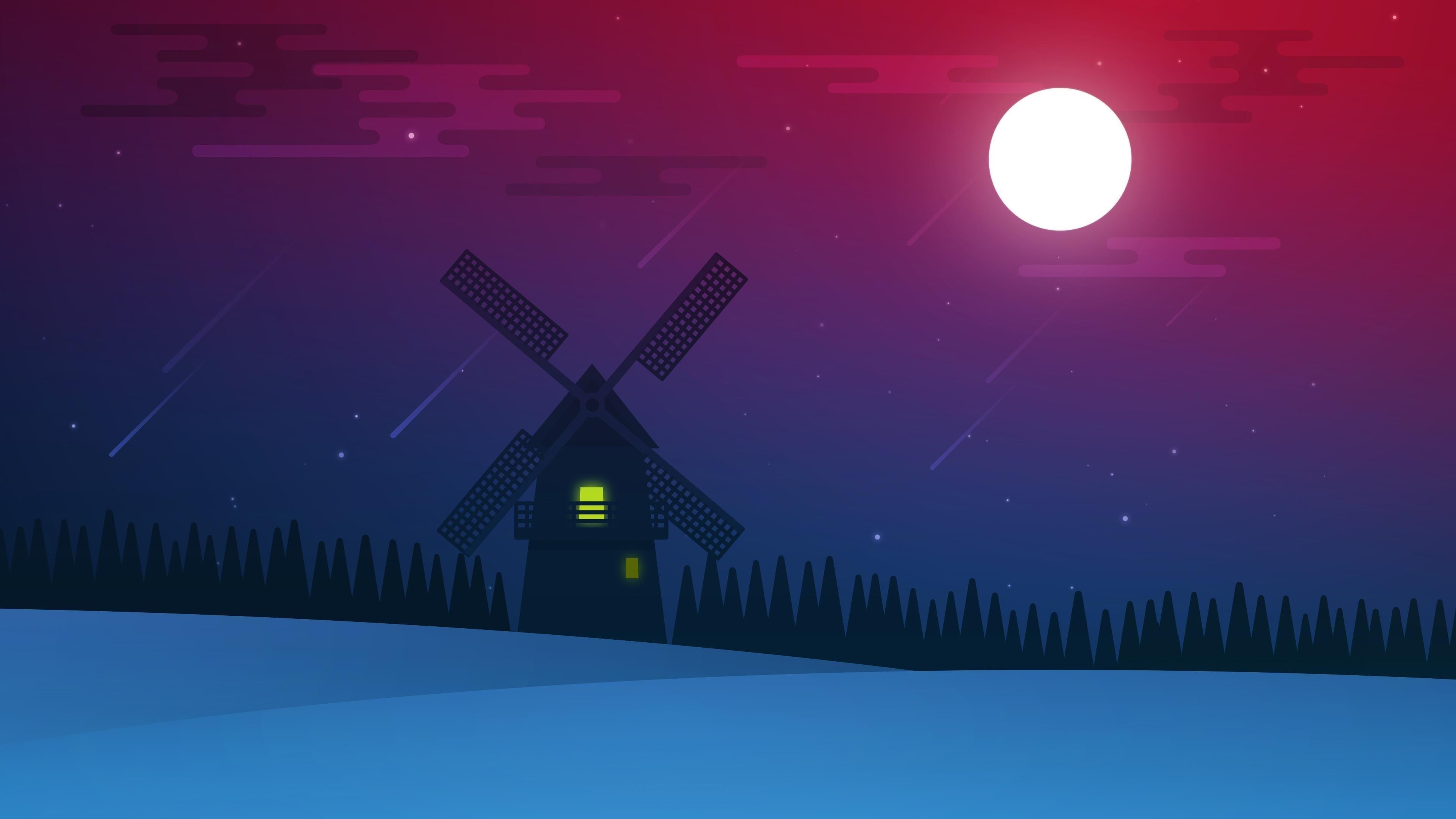 Полнолуние ночной пейзаж обои скачать
