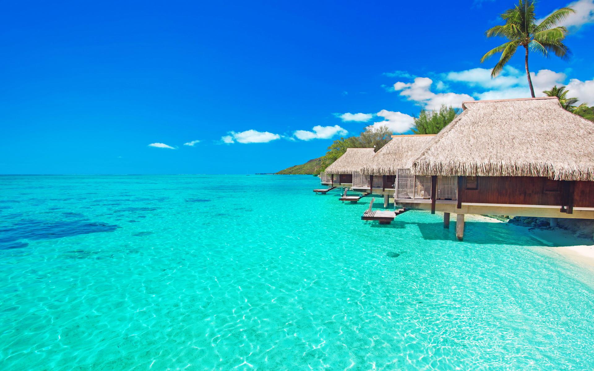 Ресторан на пляже тропический острова обои скачать