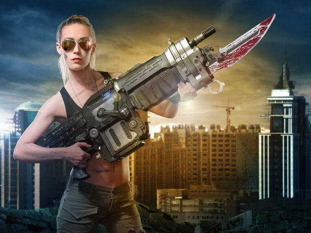 Gears войны ретро Лансер винтовка косплей.