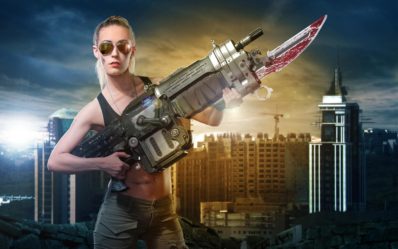 Gears войны ретро Лансер винтовка косплей. обои скачать