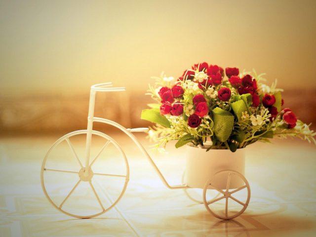Маленький велосипед с цветами