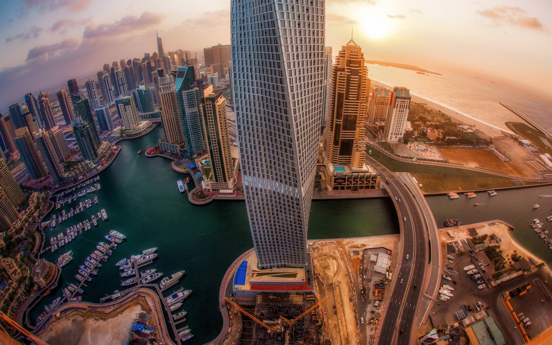 Рассвет в Дубаях с видом на небоскребы обои скачать
