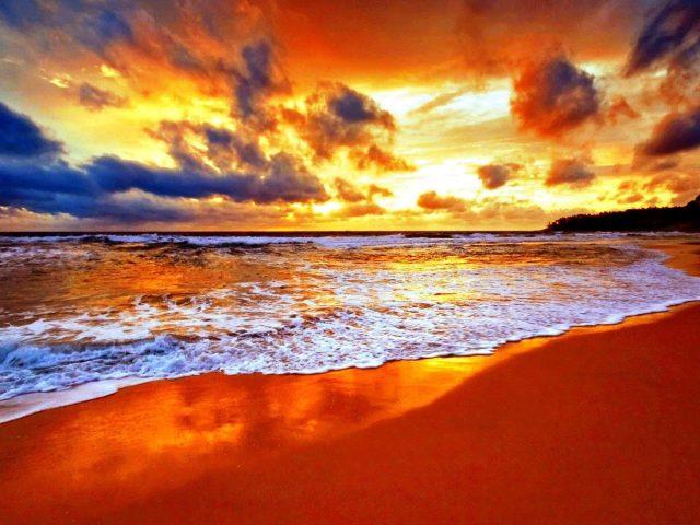 Берег моря во время заката природа