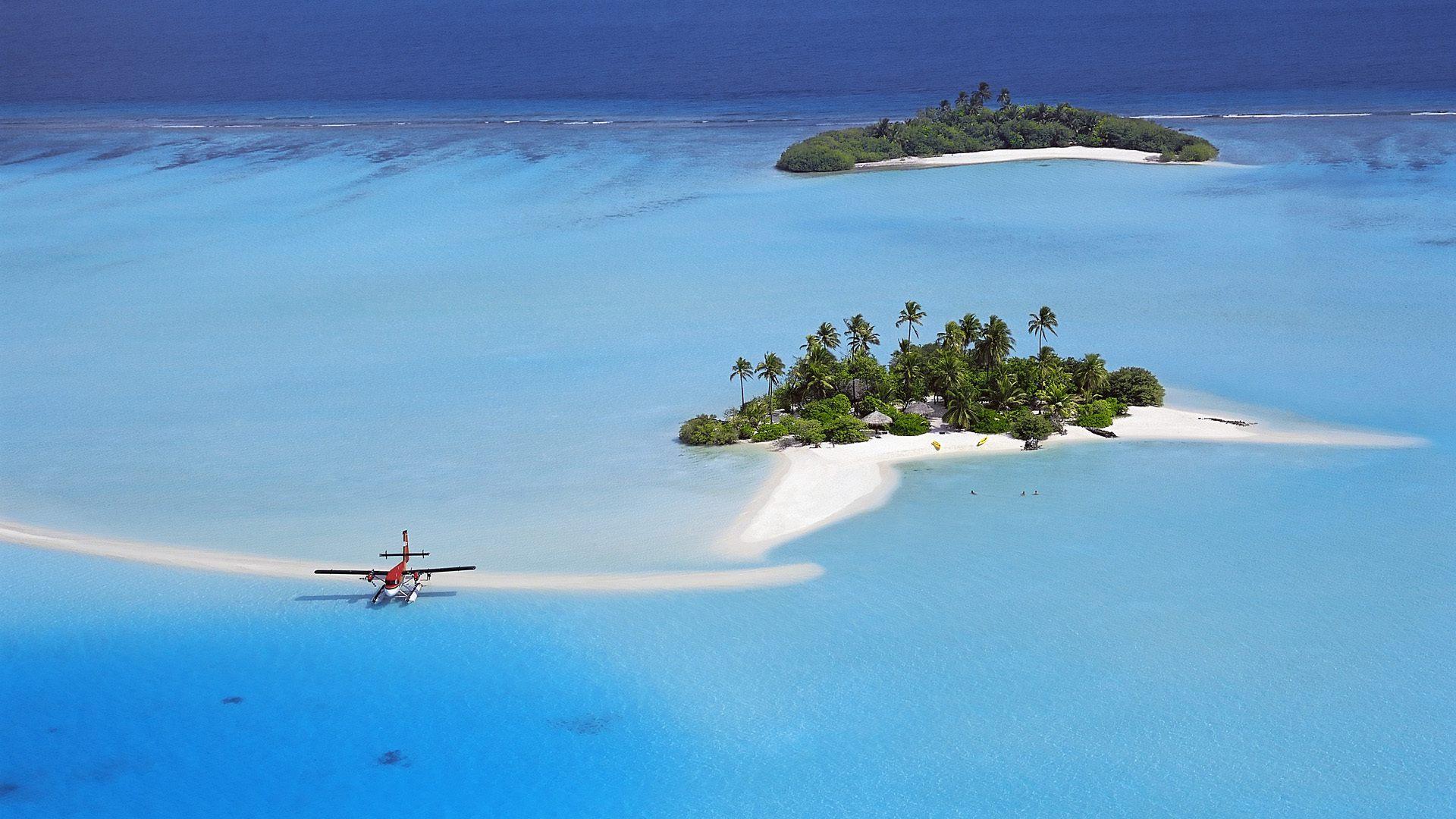 Мостик для водных самолетов на Мальдивах обои скачать