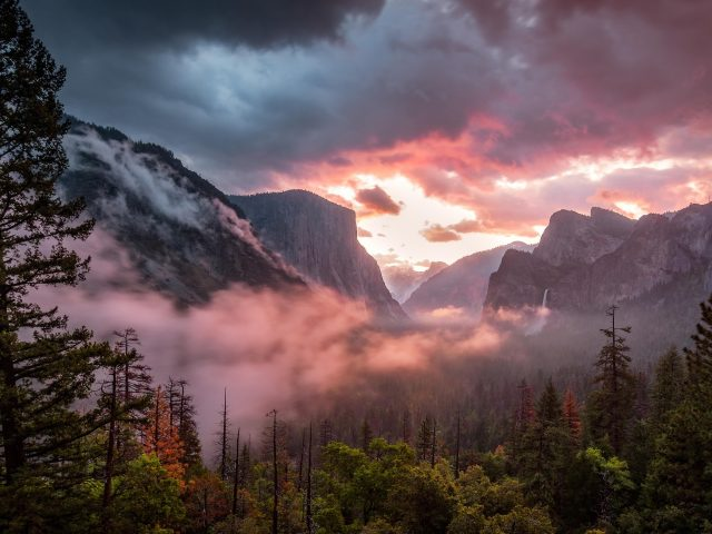Утренний пейзаж долины Йосемити
