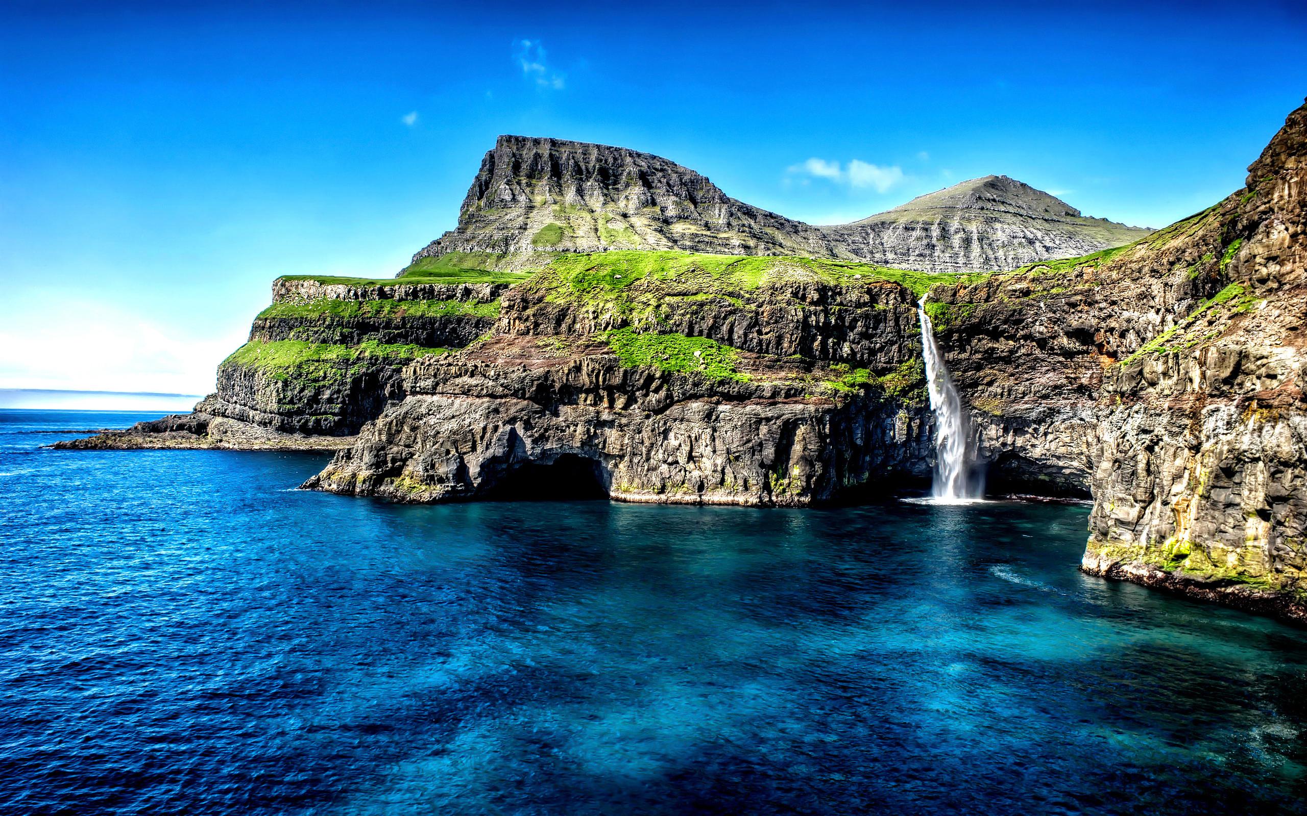 Гавайи водопад острова. обои скачать