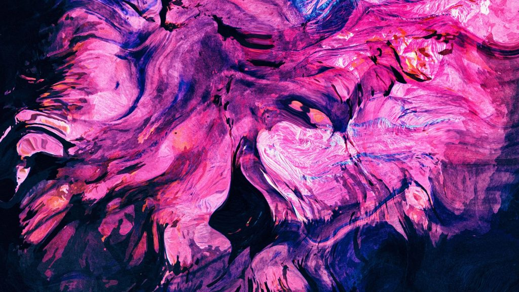 Фиолетовые розовые синие пятна краска жидкая абстрактная обои скачать