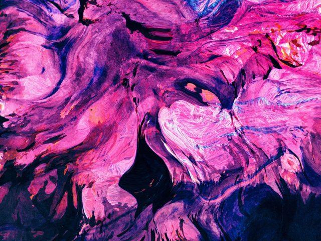 Фиолетовые розовые синие пятна краска жидкая абстрактная