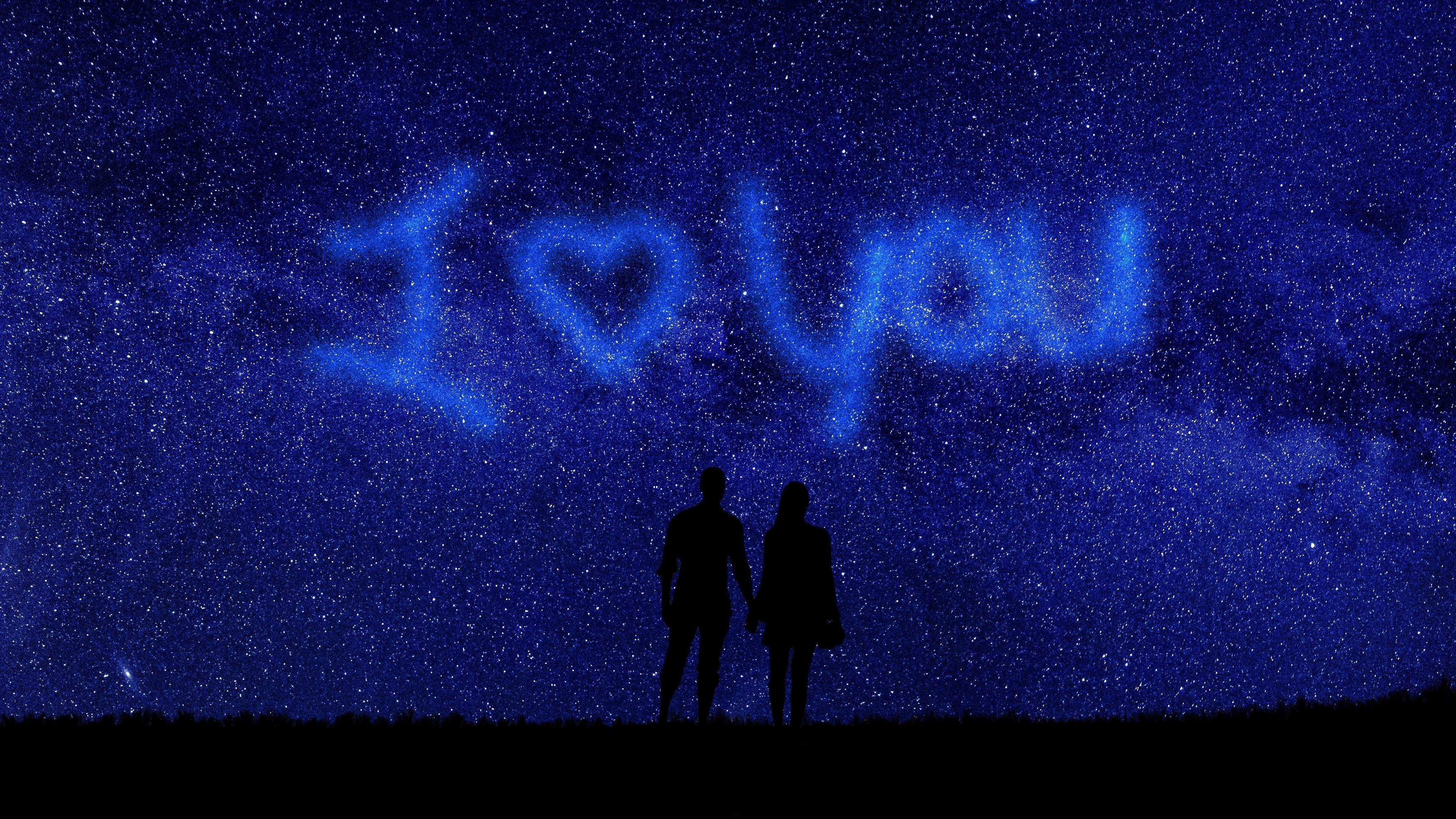 Я люблю тебя пара романтическая ночь обои скачать