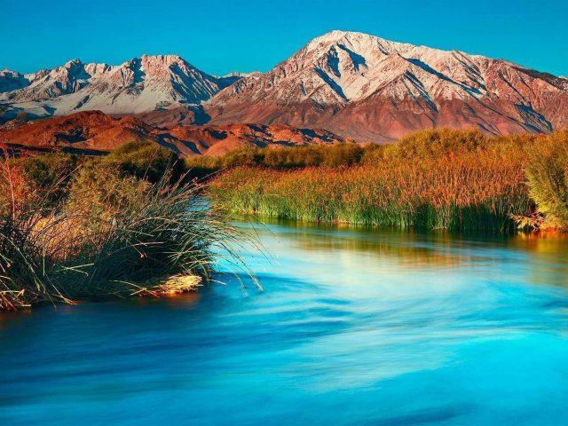 Река между зелеными и сухими травами и растениями покрытое поле и пейзаж вид на коричневые горы природа