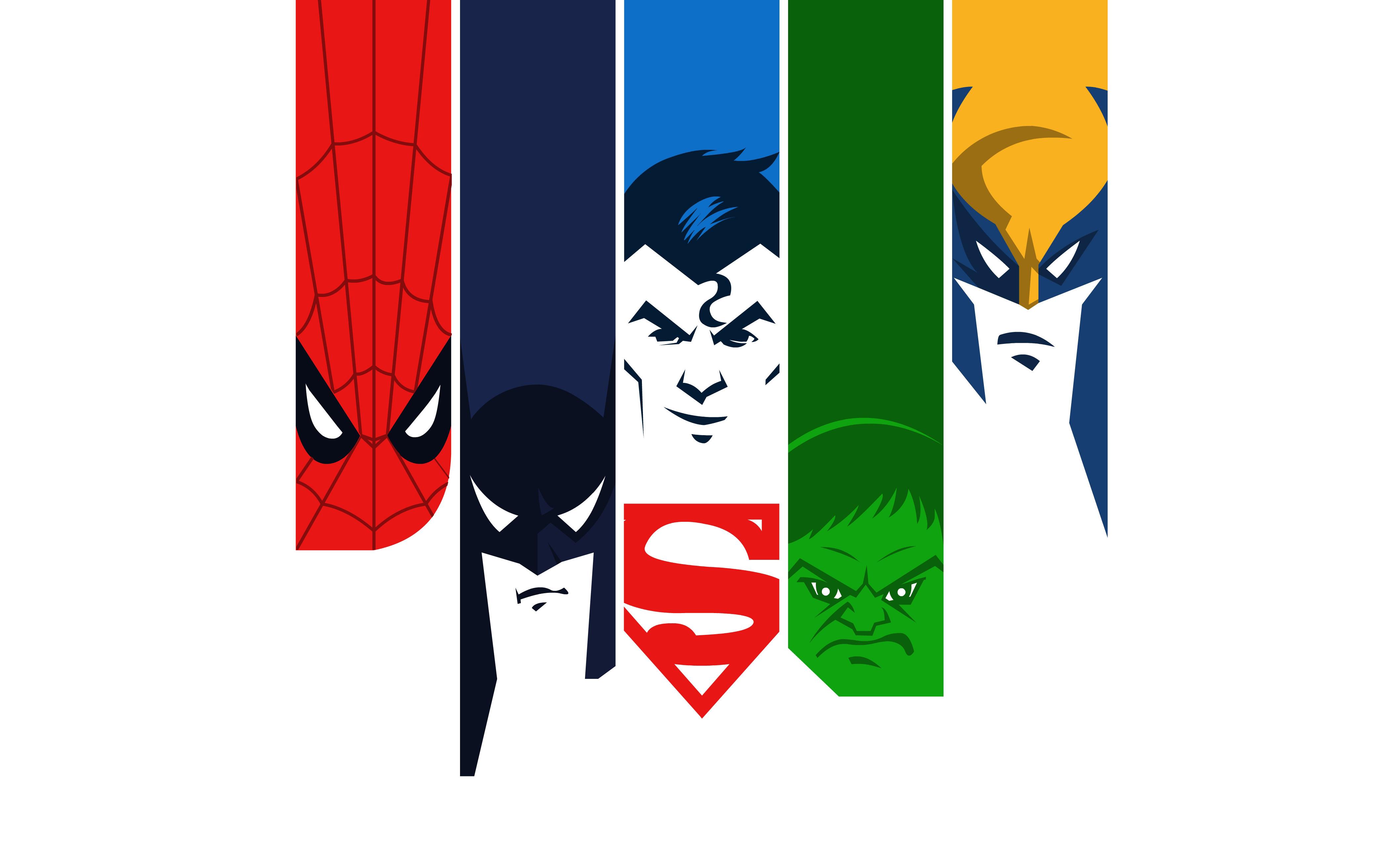 Человек-паук Бэтмен Халк супермен минимальный обои скачать
