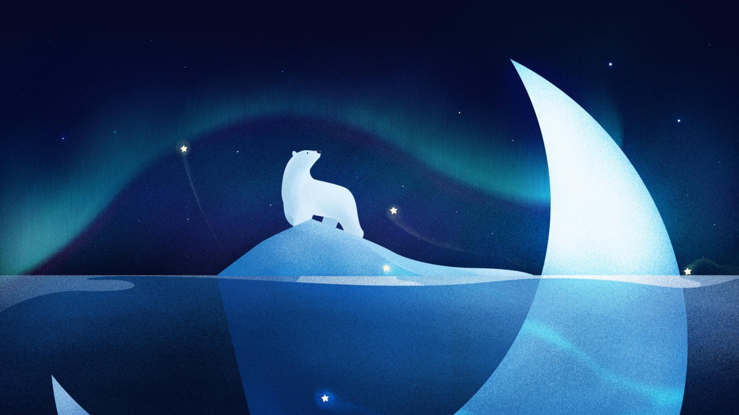 Ночь белого медведя обои скачать