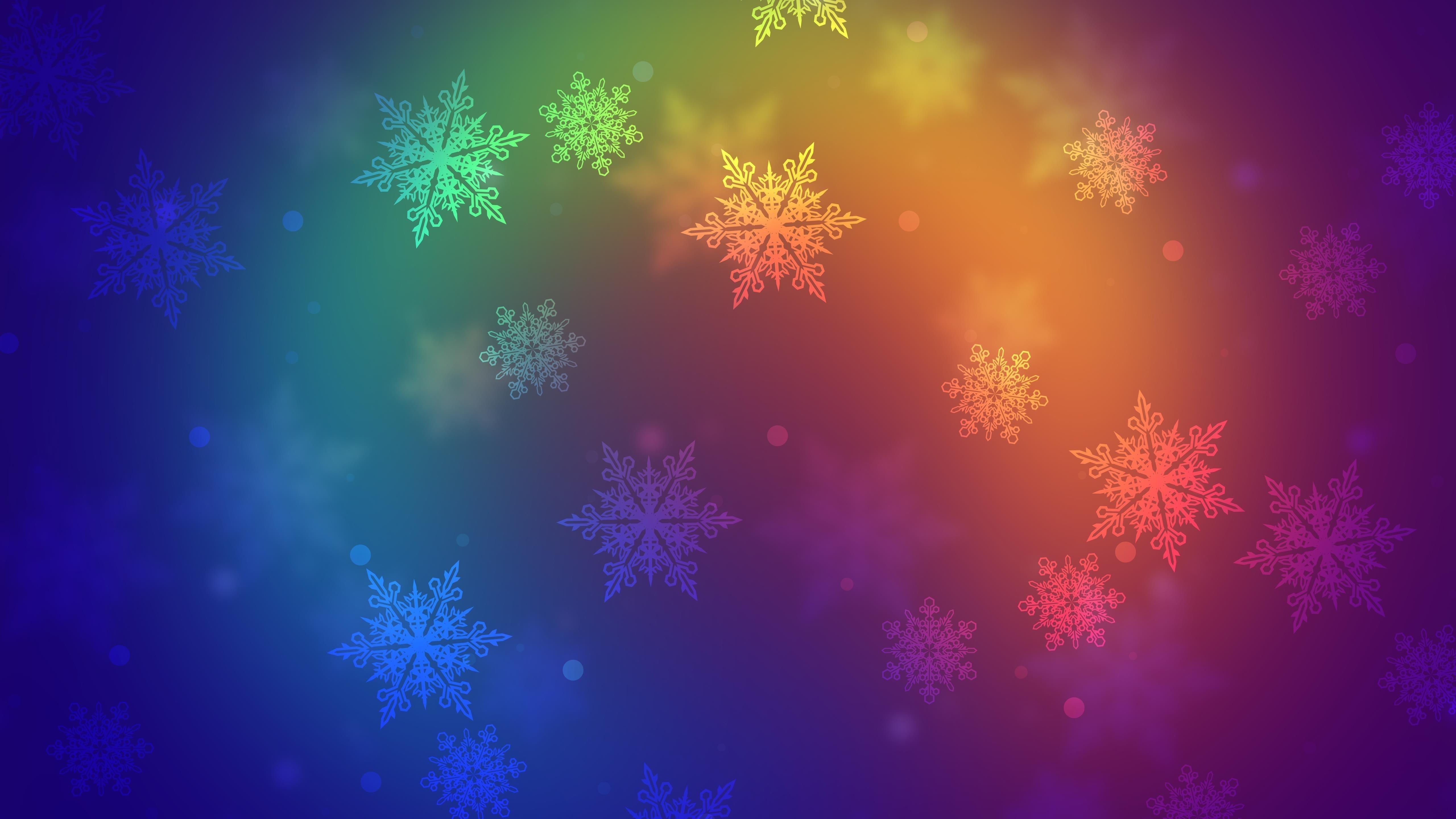 Красочные снежинки обои скачать
