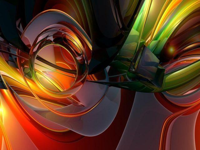 Зеленый красный желтый стеклянный абстрактное произведение искусства абстрактное
