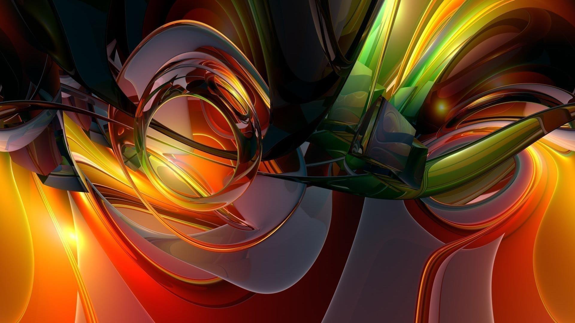 Зеленый красный желтый стеклянный абстрактное произведение искусства абстрактное обои скачать