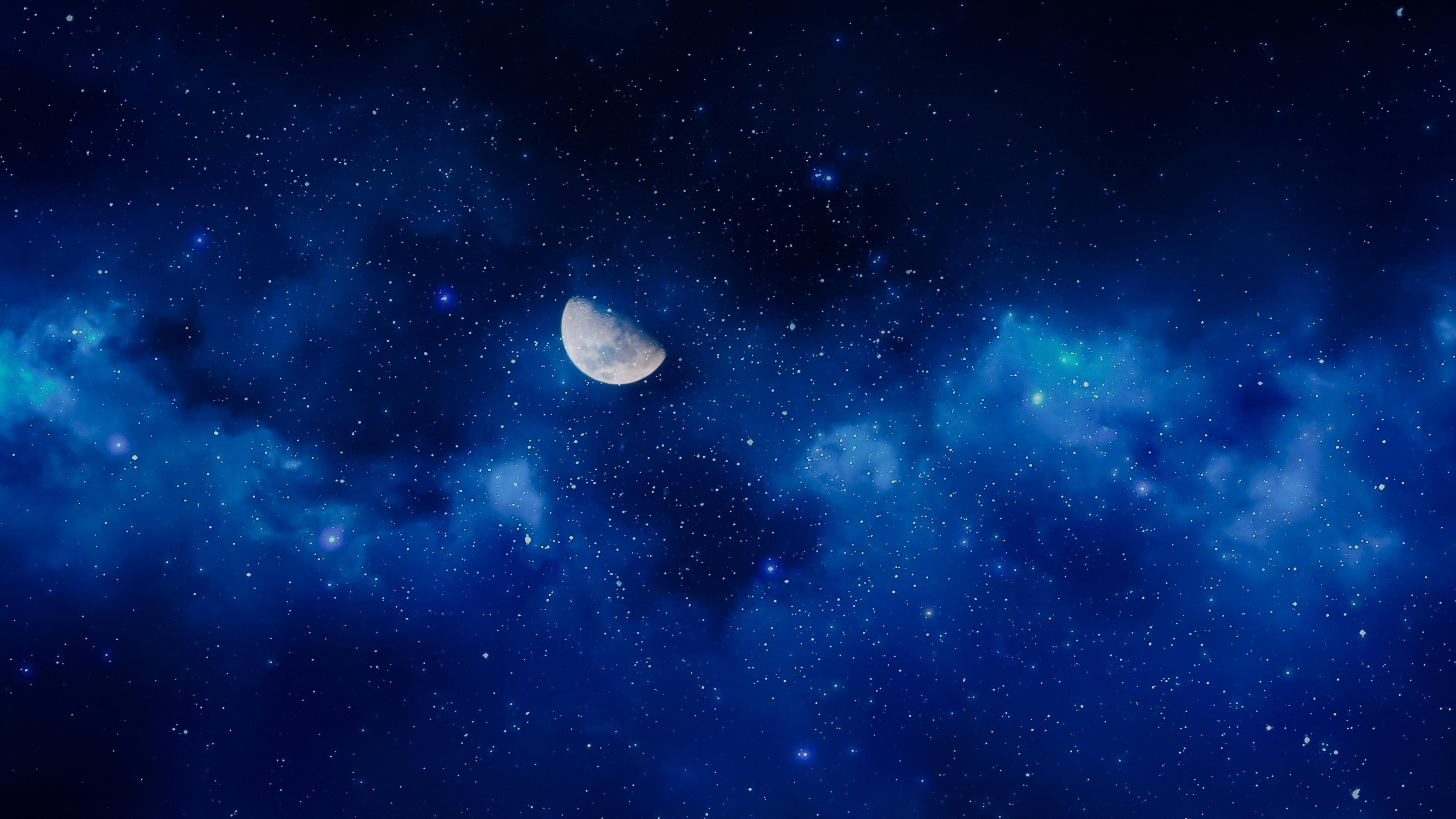 Луна звездное небо обои скачать