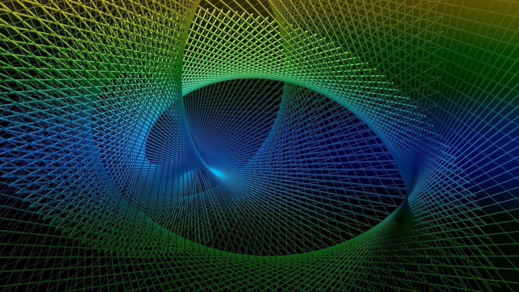 Сине зеленый рендеринг фрактальная спираль абстракция обои скачать