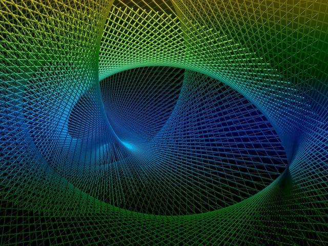 Сине зеленый рендеринг фрактальная спираль абстракция