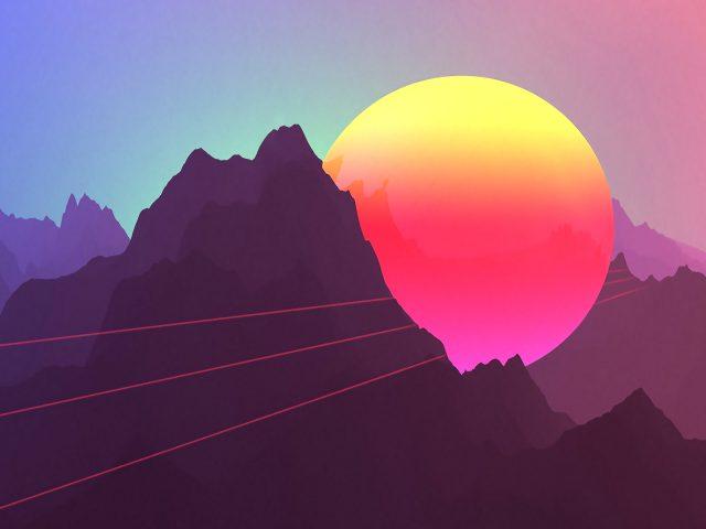 Неоновые горы заката