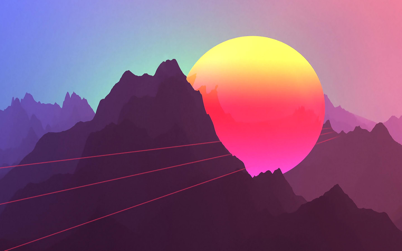 Неоновые горы заката обои скачать
