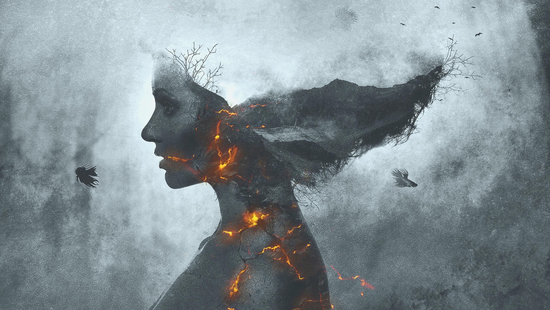 Девушка в огне монохромный обои скачать