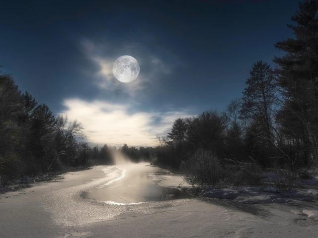 Заснеженная река между соснами под лунным небом зима