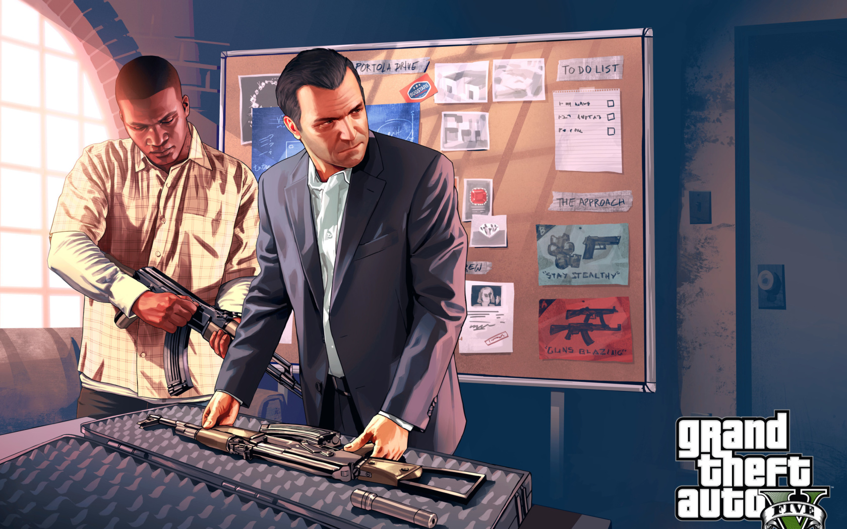 Grand Theft Auto V, майк, франклин, оружие обои скачать