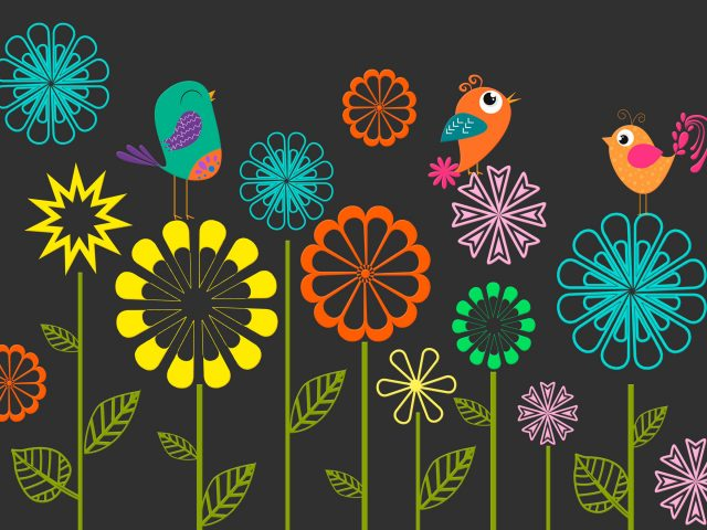 Красочные векторные цветы птицы.