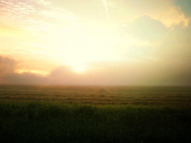 Восход фермы пейзаж.