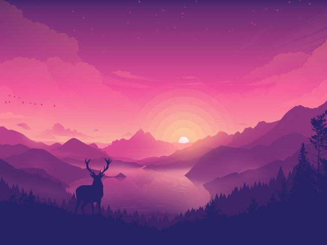 Пейзаж заката на берегу озера