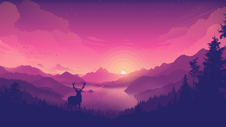 Пейзаж заката на берегу озера обои скачать