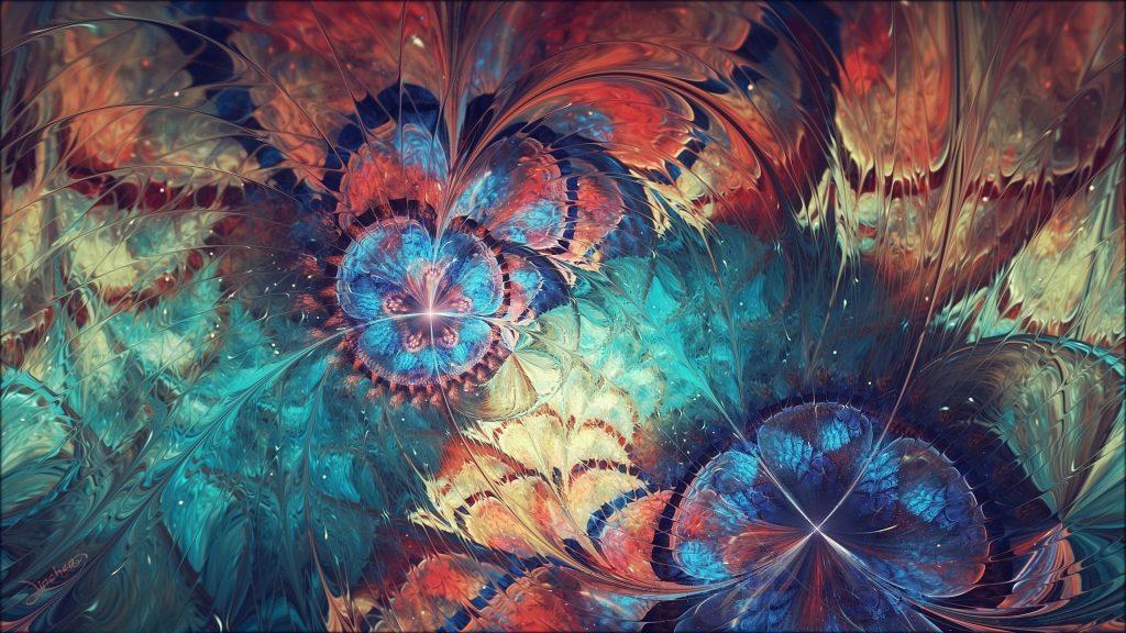 Красочные фрактальные волны формы цветок абстракция абстракция обои скачать