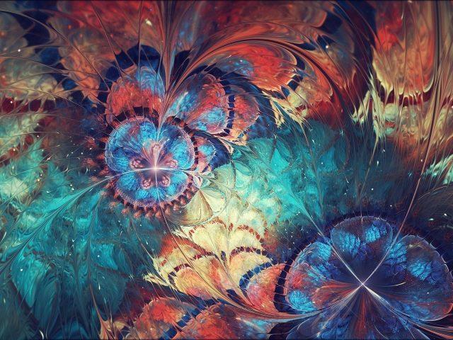 Красочные фрактальные волны формы цветок абстракция абстракция
