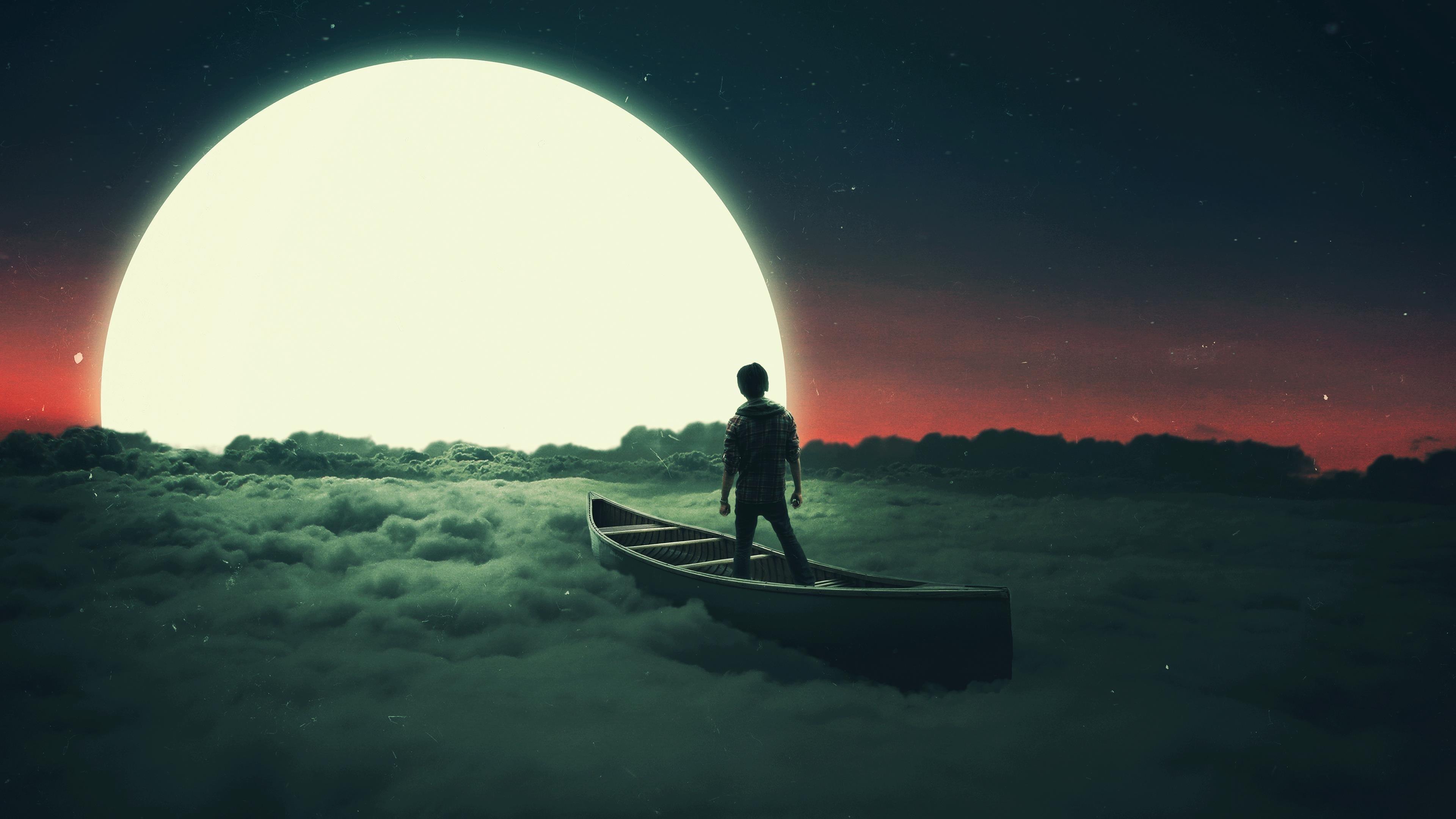 Лунный сон в летающей лодке обои скачать