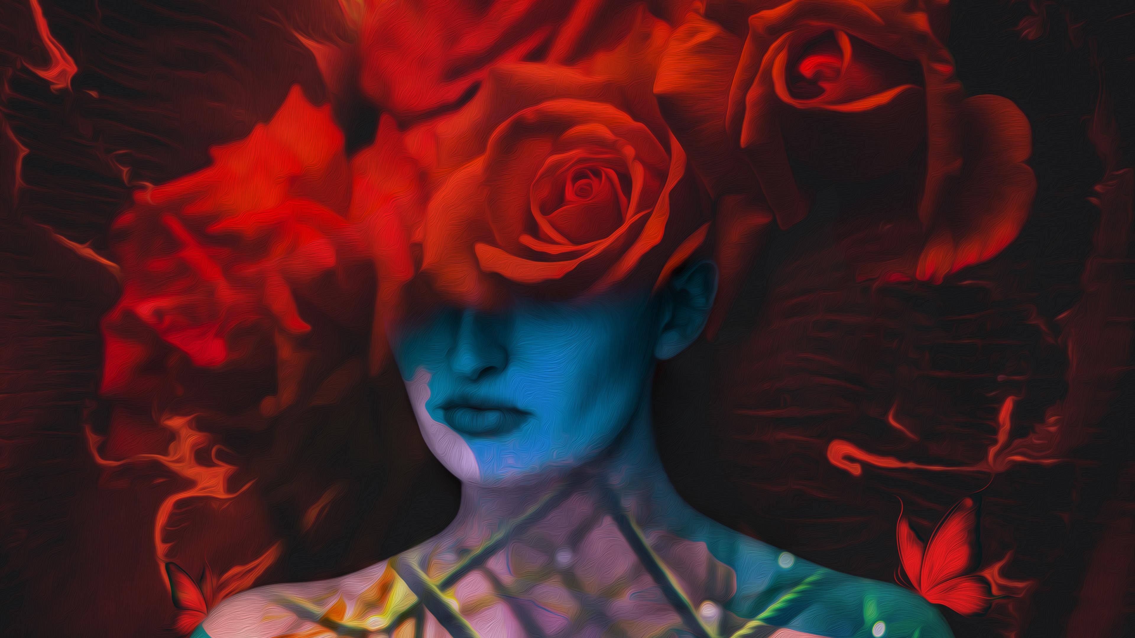 Девушка с розами обои скачать