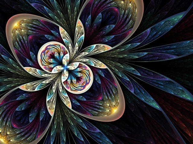 Красочная фрактальная абстракция абстрактное произведение искусства