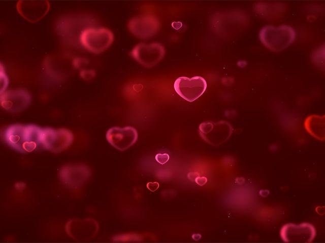 Любовь сердца красный фон