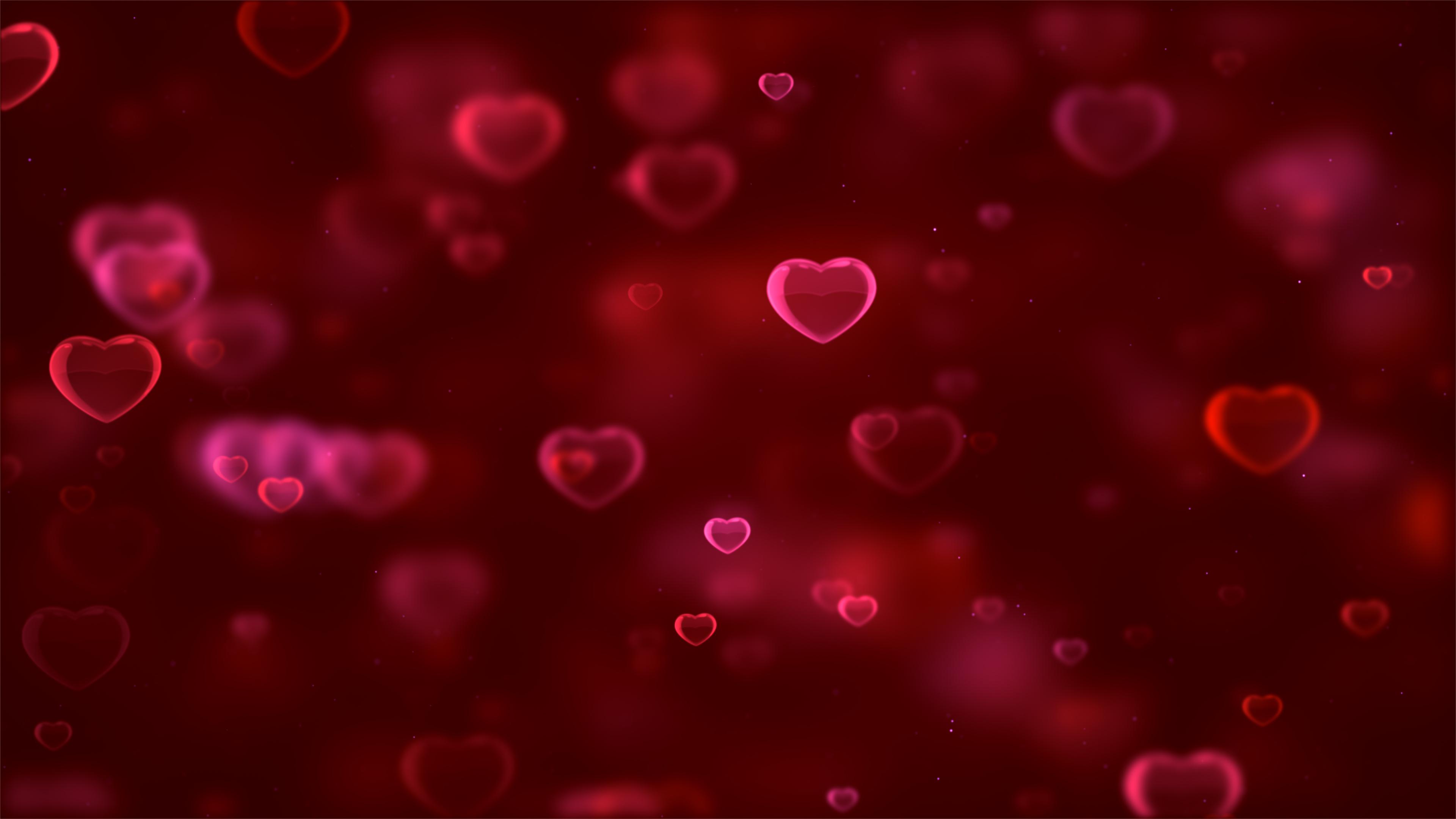 Любовь сердца красный фон обои скачать