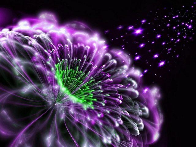 Фиолетово-зеленый цветок фрактальная абстракция абстракция