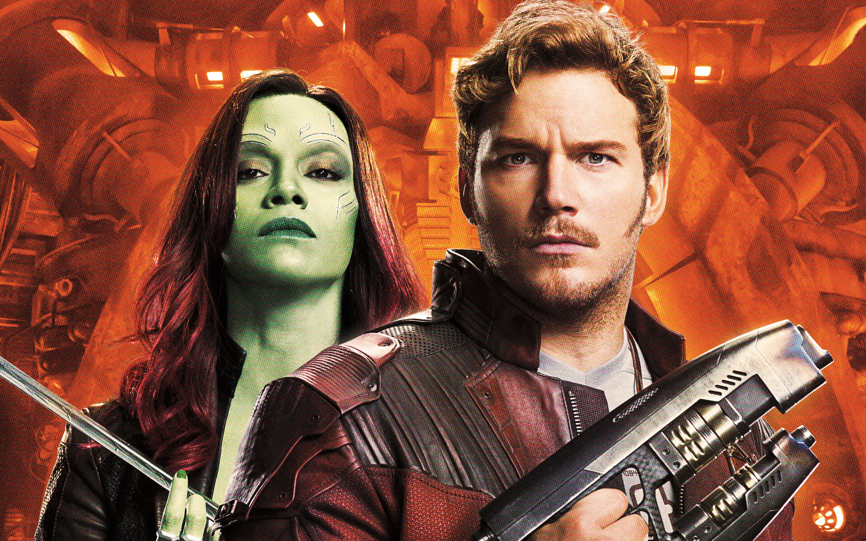 Guardians of the galaxy vol 2 peter quill gamora. обои скачать