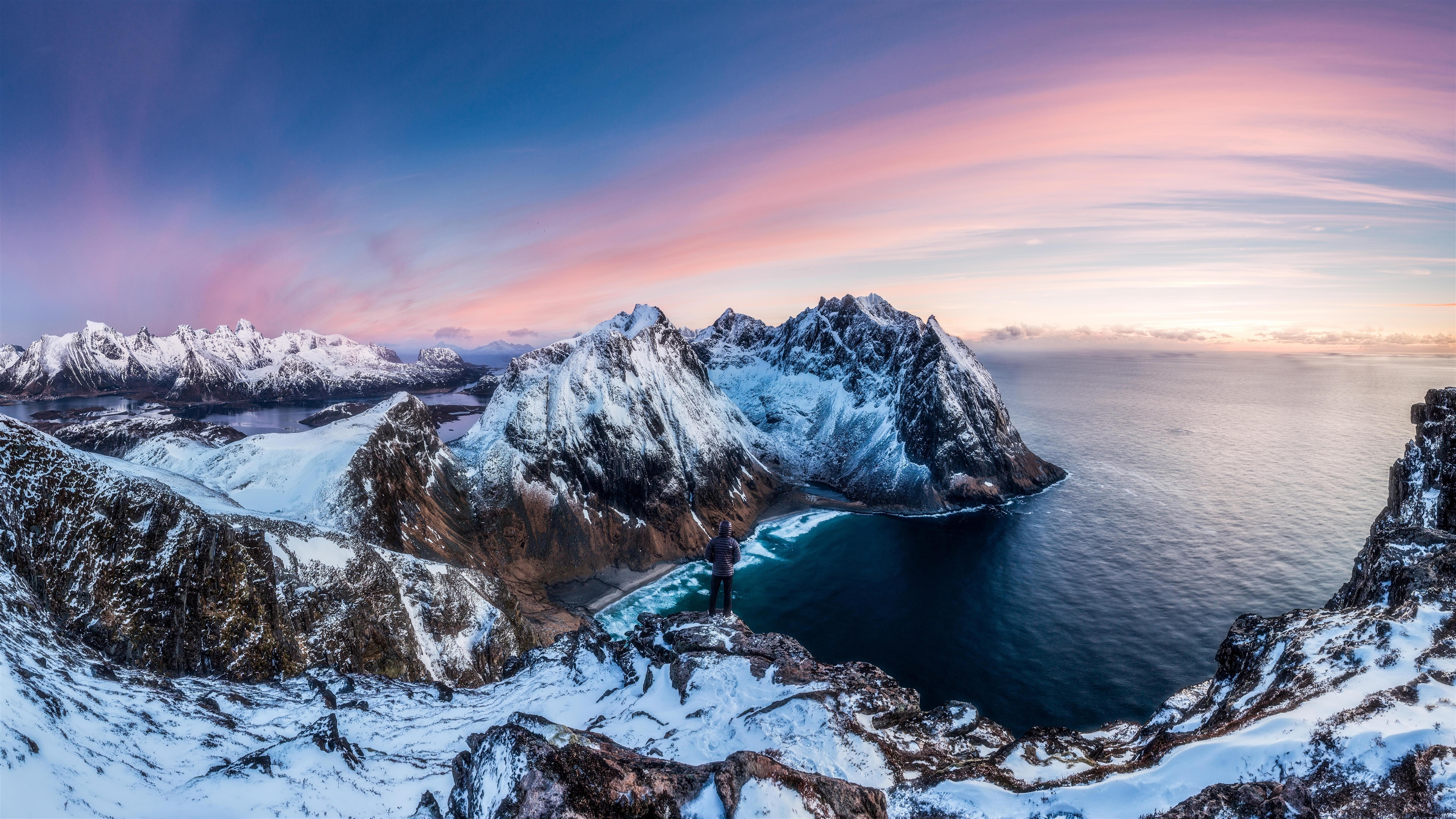 Зимой горы панорама обои скачать