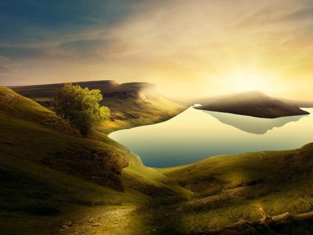 Горный пейзаж озера