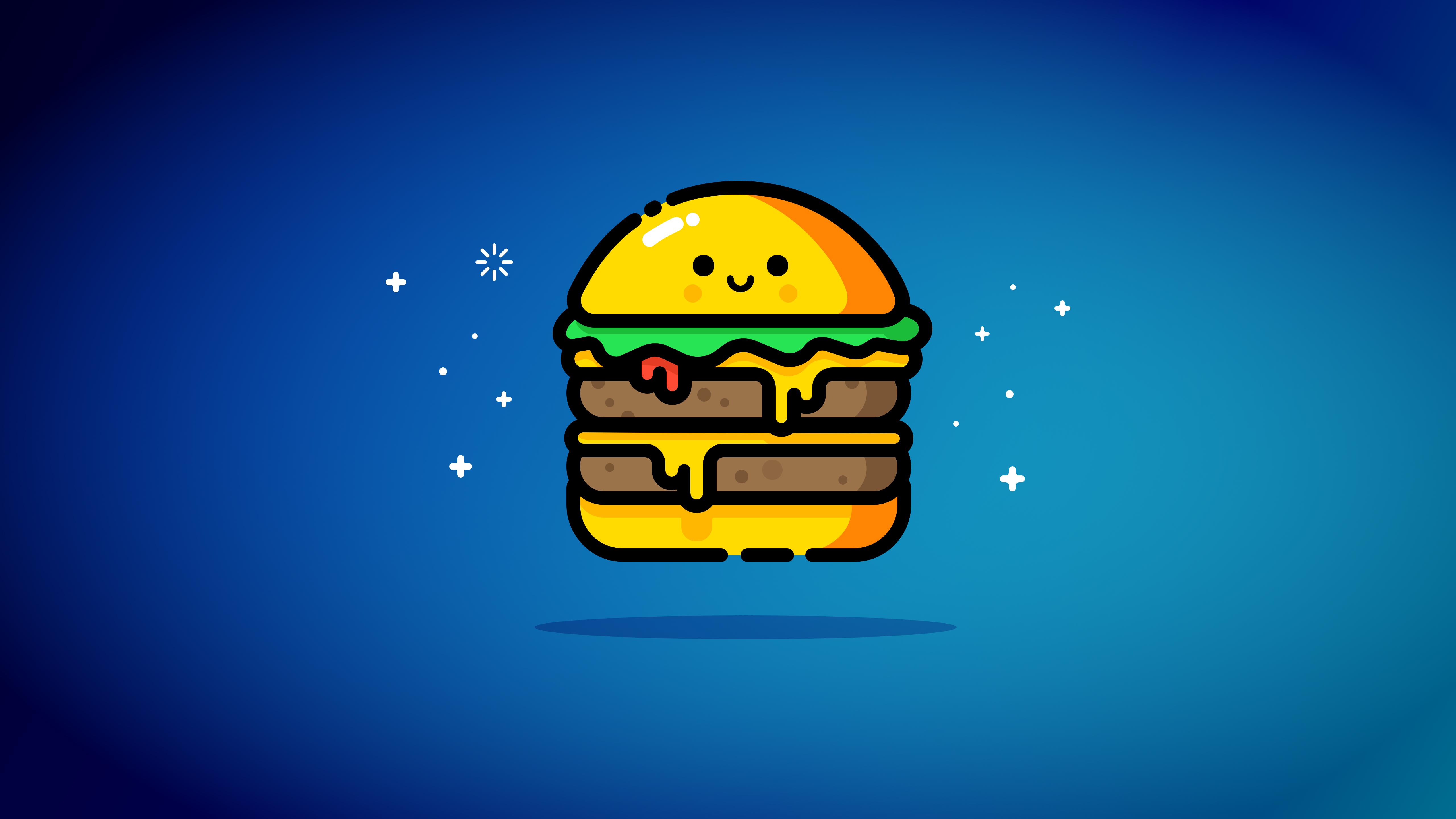 Двойной чизбургер синий обои скачать