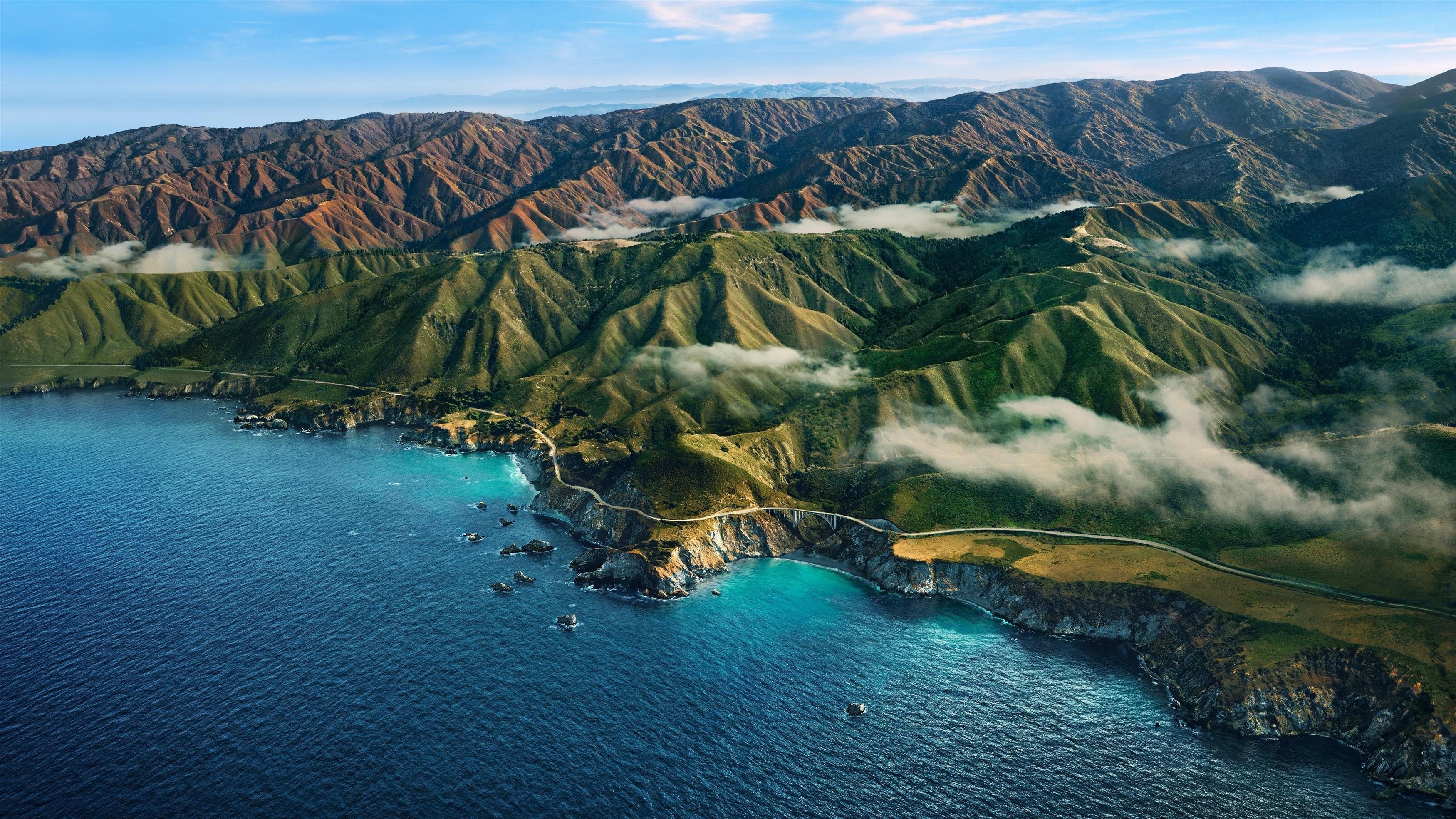Горы рельеф побережье море обои скачать